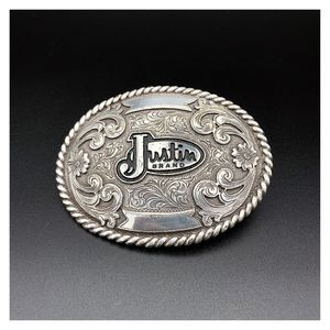 Justin Boot Brand Silver Tone Ornate Belt Buckle